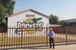 Jose L. Yepez, Jr., president of Desert Building and Design Inc., stands in front of his building in Calexico, California.